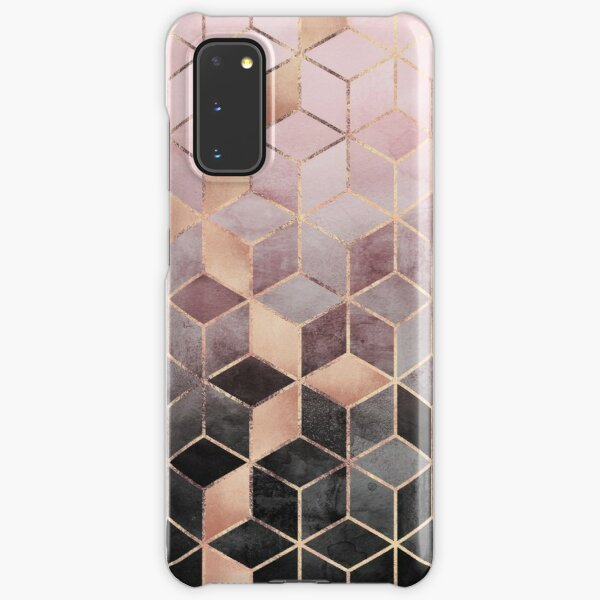 Pink And Grey Gradient Cubes Samsung Galaxy Snap Case