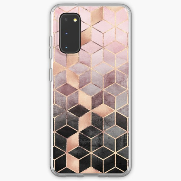 Pink And Grey Gradient Cubes Samsung Galaxy Soft Case