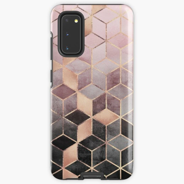 Pink And Grey Gradient Cubes Samsung Galaxy Tough Case