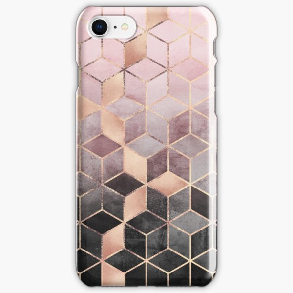 Pink And Grey Gradient Cubes iPhone Snap Case