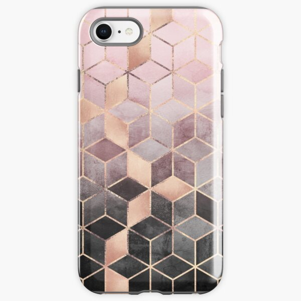 Pink And Grey Gradient Cubes iPhone Tough Case
