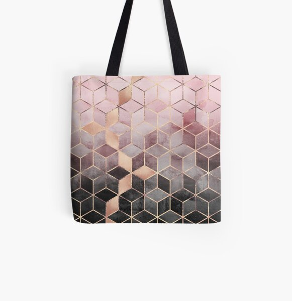 Pink And Grey Gradient Cubes All Over Print Tote Bag