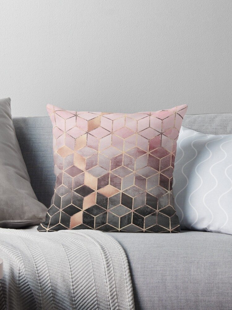 Pink And Grey Gradient Cubes by Elisabeth Fredriksson
