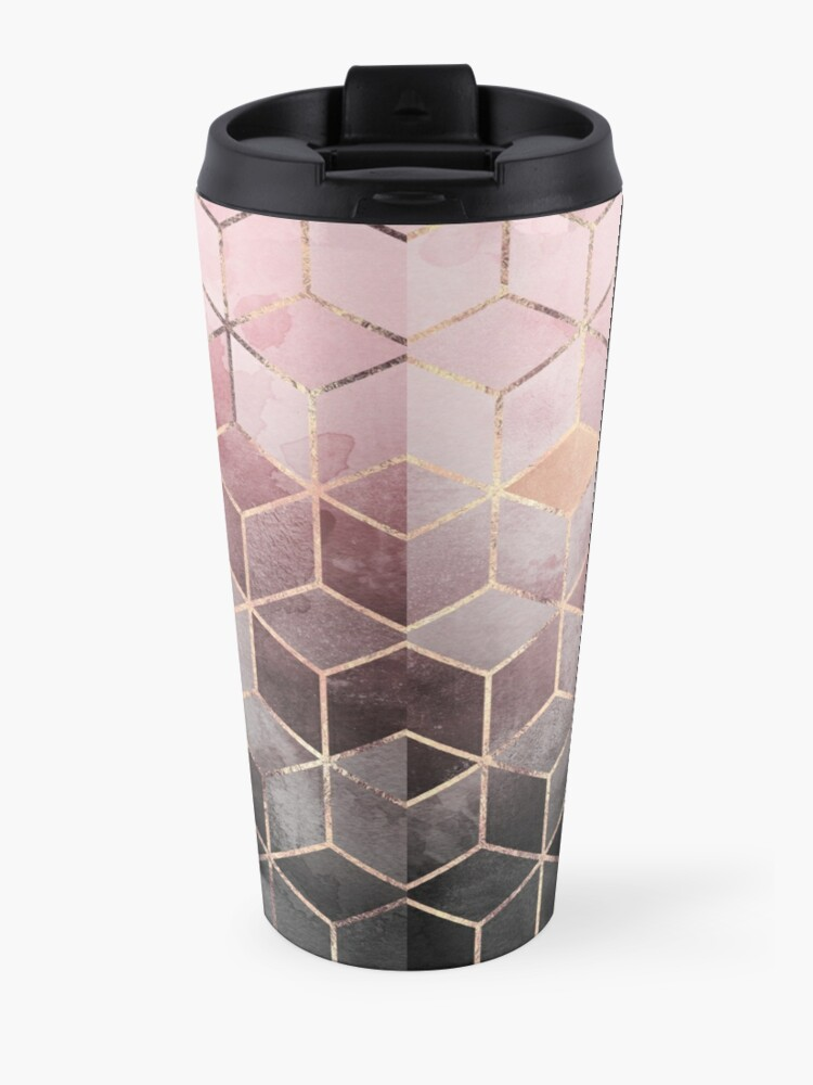 Alternate view of Pink And Grey Gradient Cubes Travel Mug