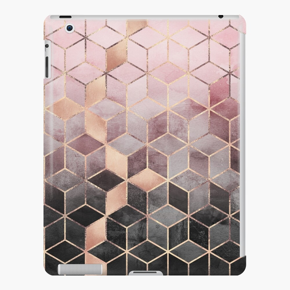 Pink And Grey Gradient Cubes iPad Case & Skin