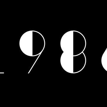 Born in 1986 Vintage Text Numbers Birthday Birthdate  by Birthdates