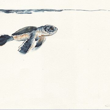 watercolour turtle hatchling  by E-M-Wood