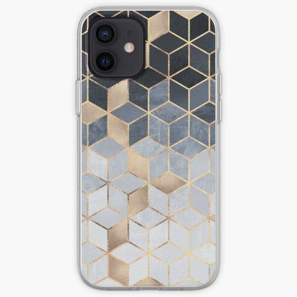 Soft Blue Gradient Cubes iPhone Soft Case