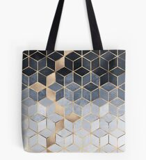 Soft Blue Gradient Cubes Tote Bag