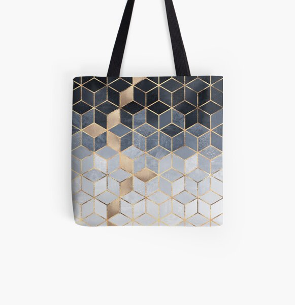 Soft Blue Gradient Cubes All Over Print Tote Bag