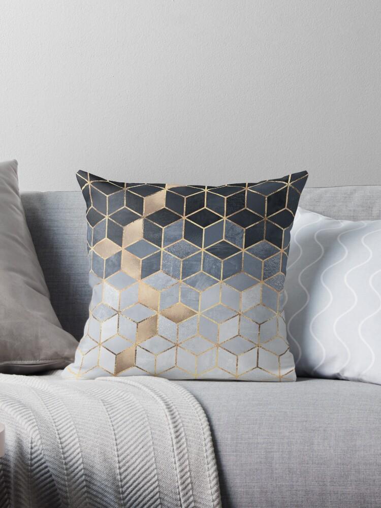 Soft Blue Gradient Cubes by Elisabeth Fredriksson