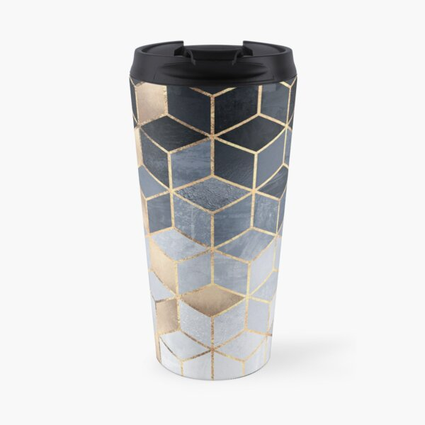 Soft Blue Gradient Cubes Travel Mug