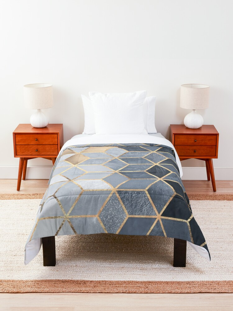 Alternate view of Soft Blue Gradient Cubes Comforter