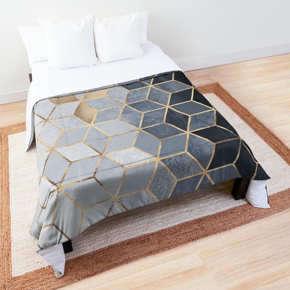 Soft Blue Gradient Cubes Comforter