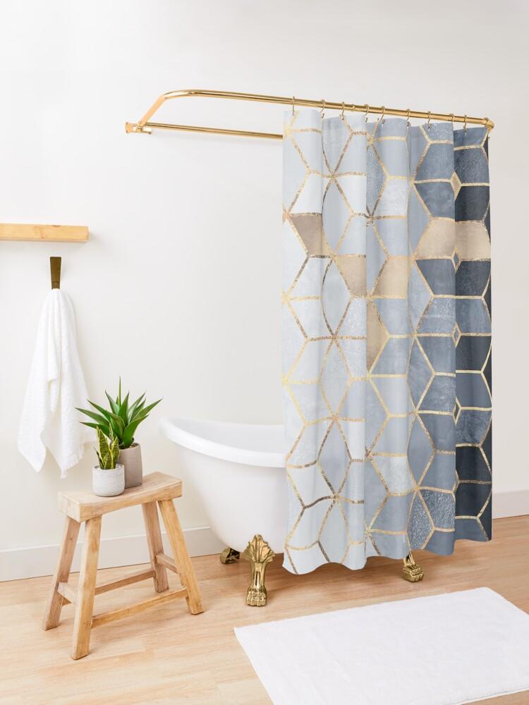 Alternate view of Soft Blue Gradient Cubes Shower Curtain