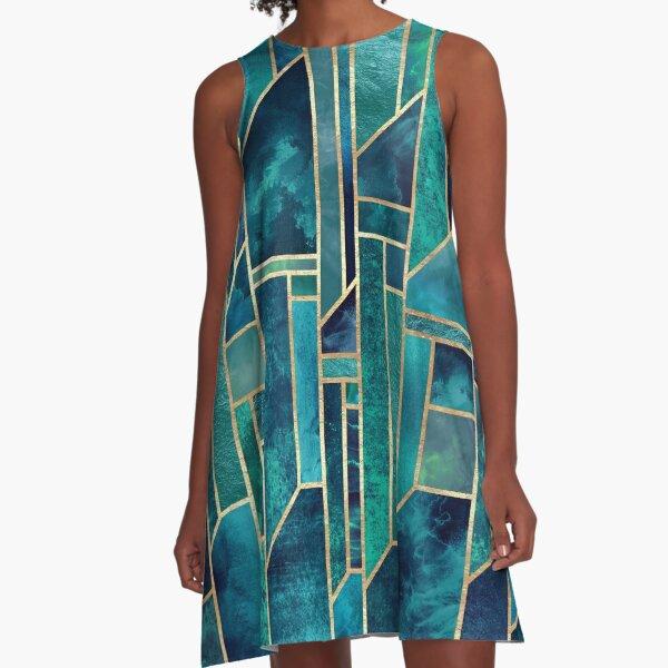Blaue Himmel A-Linien Kleid