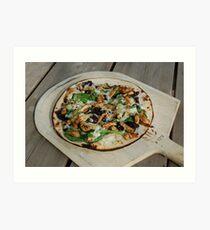 Chicken, Basil, Black Olive Pizza Art Print