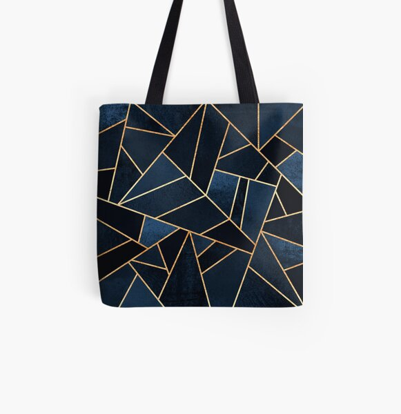 Navy Stone All Over Print Tote Bag