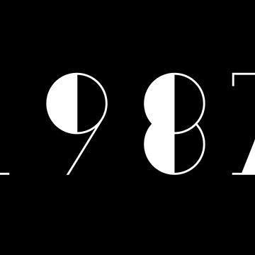 Born in 1987 Vintage Text Numbers Birthday Birthdate  by Birthdates