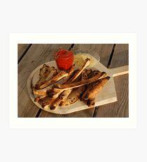 Bread Sticks with Butter & Tomato Sauce Art Print