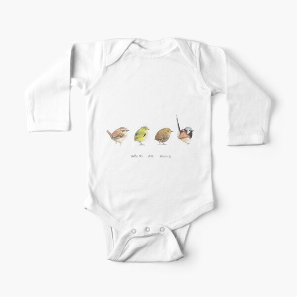 Wrens are round Long Sleeve Baby One-Piece