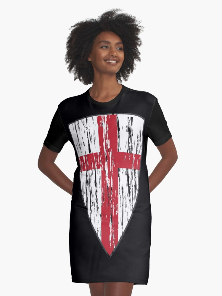 Crusader Knights Templar Cross Graphic T-Shirt Dress Front