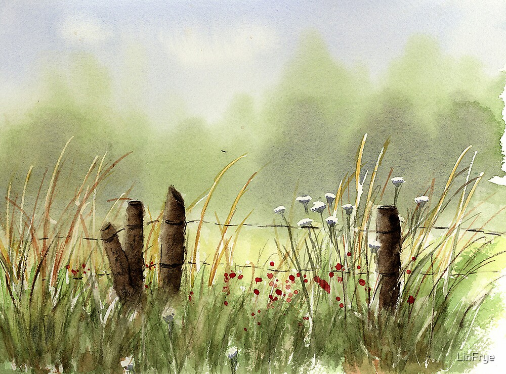 Field and Fence by LinFrye