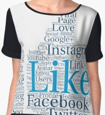 Words cloud Social Network concept, thumb up shape. Women's Chiffon Top
