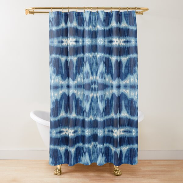 Tie-Dye Blues Twos Shower Curtain