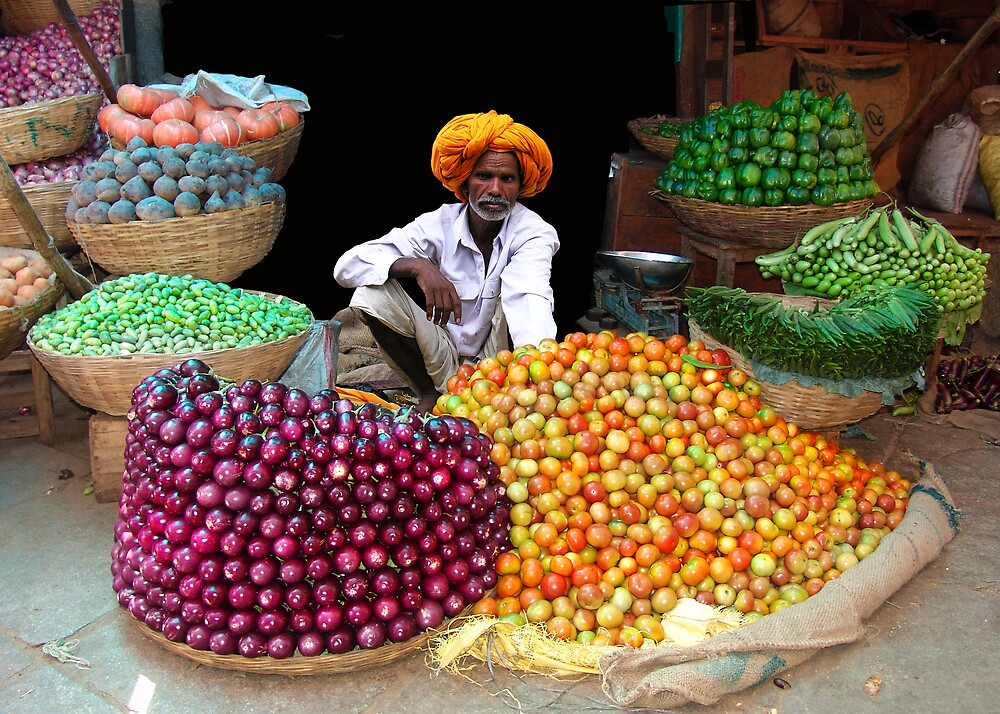 VEGETABLE SELLER - RAJASTHAN by Michael Sheridan