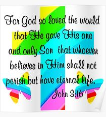 RAINBOW BUTTERFLY AND CROSS JOHN 3:16 DESIGN Poster