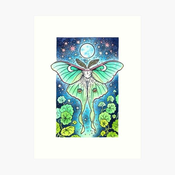 Moth of the Blue Moon | Luna Moth Art Art Print