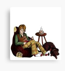Remus, Tea, Black Dog, Colour Canvas Print