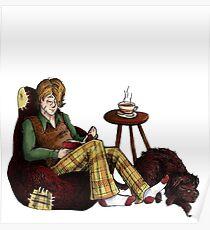 Remus, Tea, Black Dog, Colour Poster