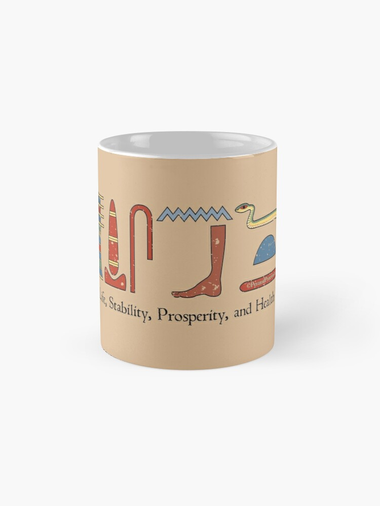 Ancient Egyptian Life Prosperity Health Blessing Hieroglyphic + Translation  Mug on Stone | Mug