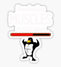 Downloading Muscles, fitness Penguin please wait gift gym t shirt  Sticker