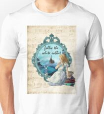 Follow The White Rabbit - Vintage Music Notes  T-Shirt