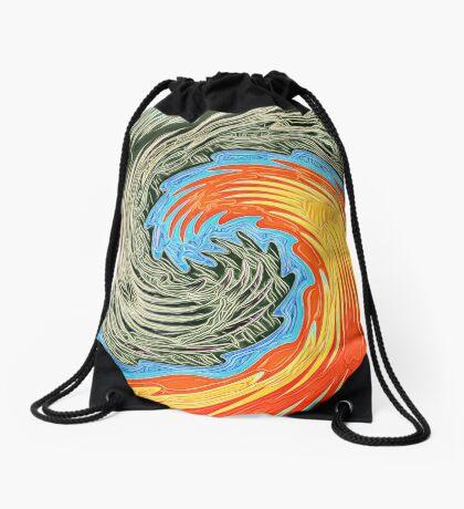 Abstract Wave Drawstring Bag