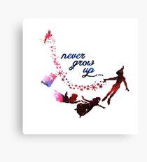 Never Grow Up Nebula Blue Canvas Print