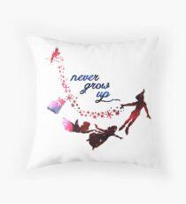 Never Grow Up Nebula Blue Throw Pillow