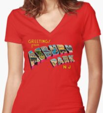 Greetings from Asbury Park, New Jersey 0a Women's Fitted V-Neck T-Shirt