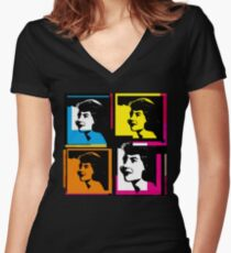 SYLVIA PLATH - WARHOL-STYLE 4-UP COLLAGE ILLUSTRATION Women's Fitted V-Neck T-Shirt