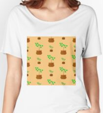 Flower Pot Seamless Pattern. Floral Natural Background Women's Relaxed Fit T-Shirt