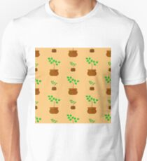 Flower Pot Seamless Pattern. Floral Natural Background Unisex T-Shirt