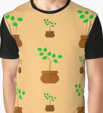 Flower Pot Seamless Pattern. Floral Natural Background Graphic T-Shirt