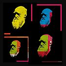 CHARLES DARWIN - FATHER OF EVOLUTION. COLOURFUL WARHOL-STYLE 4-UP COLLAGE ILLUSTRATION by Clifford Hayes