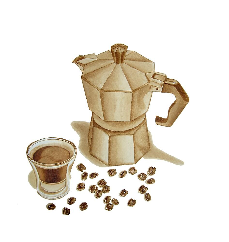 Moka Pot with Espresso Shot by joeyartist