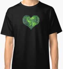 Cyborg Assimilation Black, Green and White Circuit Board Grunge Pattern Classic T-Shirt