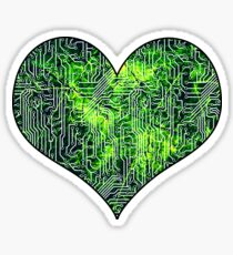 Cyborg Assimilation Black, Green and White Circuit Board Grunge Pattern Sticker