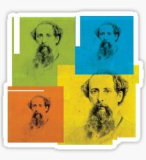 CHARLES DICKENS - VICTORIAN NOVELIST - WARHOL-STYLE 4-UP COLLAGE ILLUSTRATION Sticker